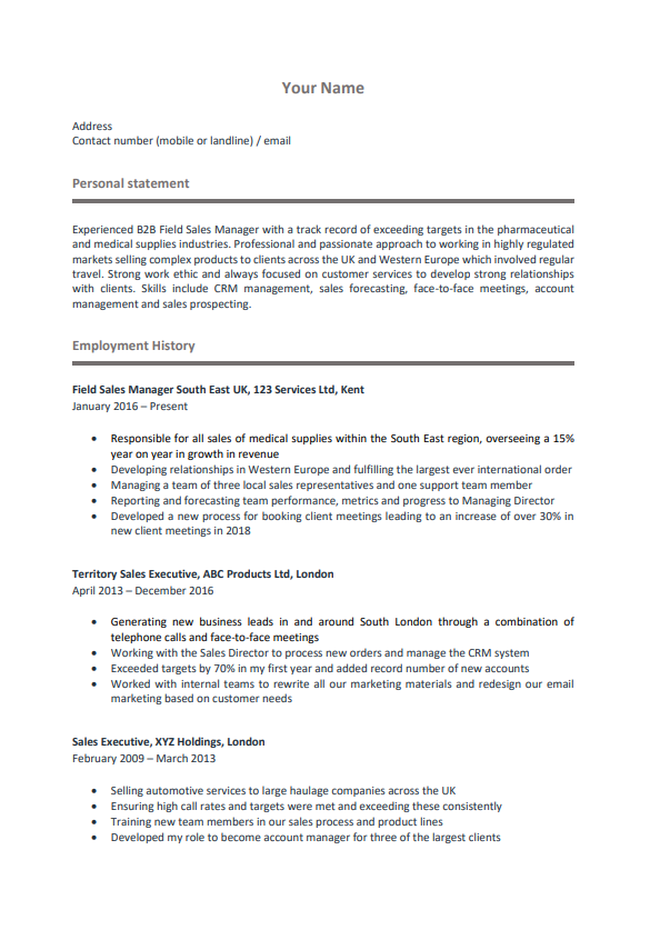 Chronological CV Example Page 1